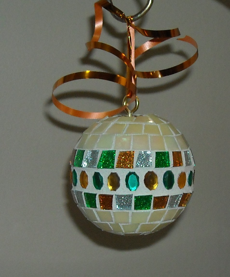 Cream gold green ornament