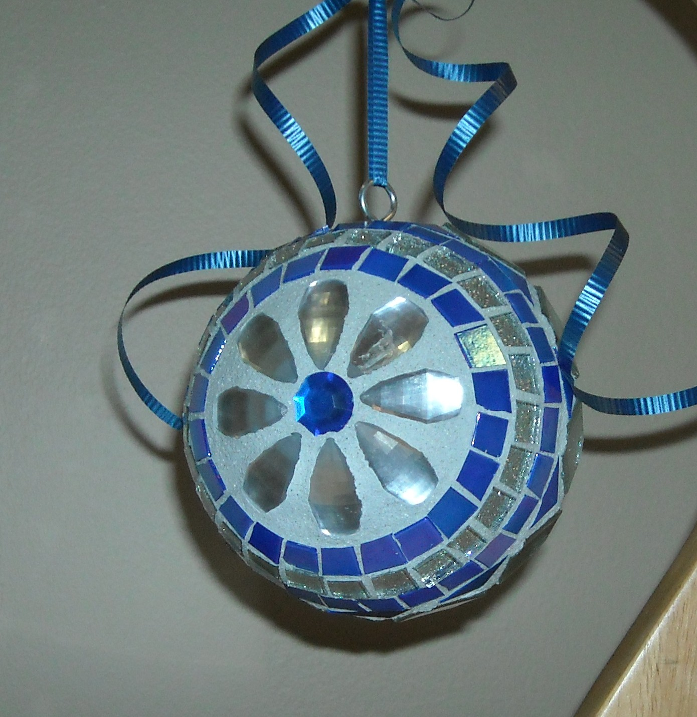 Blue jewel oversize ornament