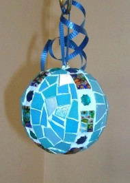 sky-blue beaded ornament
