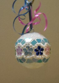 White floral jewel ornament