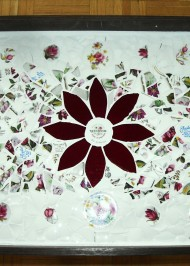 White red floral china