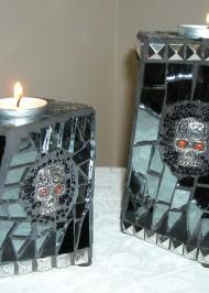 Mosaic skull votives