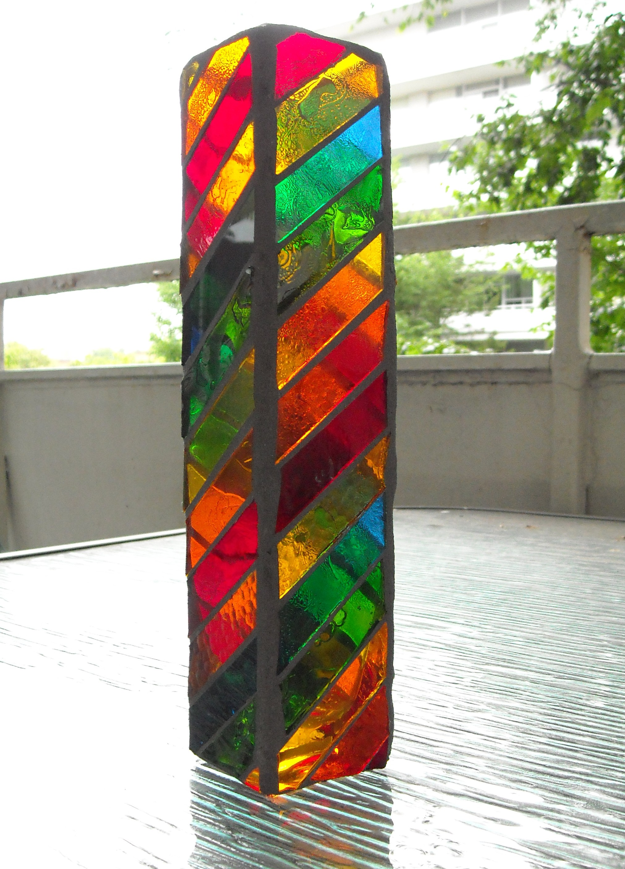 Mosaic glass bud vase